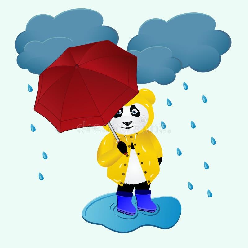 De leuke beeldverhaalpanda draagt onder de regen vector illustratie