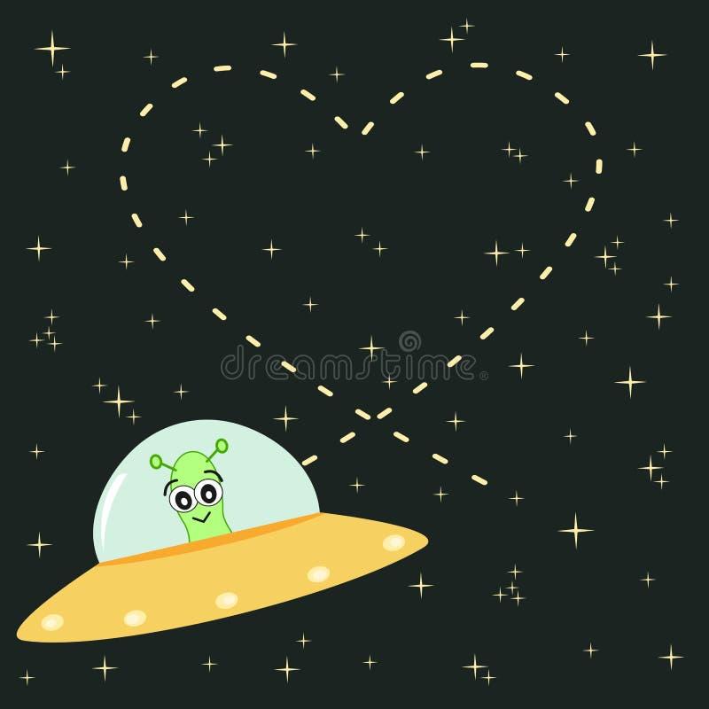 De leuke beeldverhaalvreemdeling schrijft hart in de hemel romantische en grappige illustratie vector illustratie