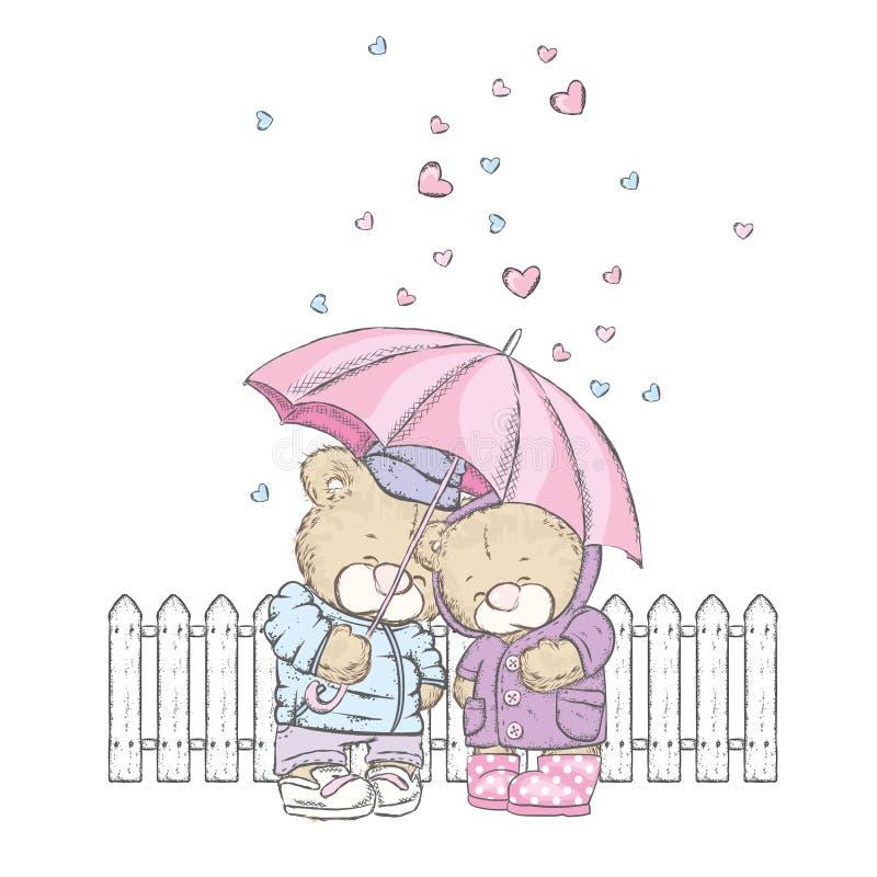 De leuke beren bevinden zich onder een paraplu en de harten gieten neer op hen Vectorillustratie voor een prentbriefkaar of een a vector illustratie
