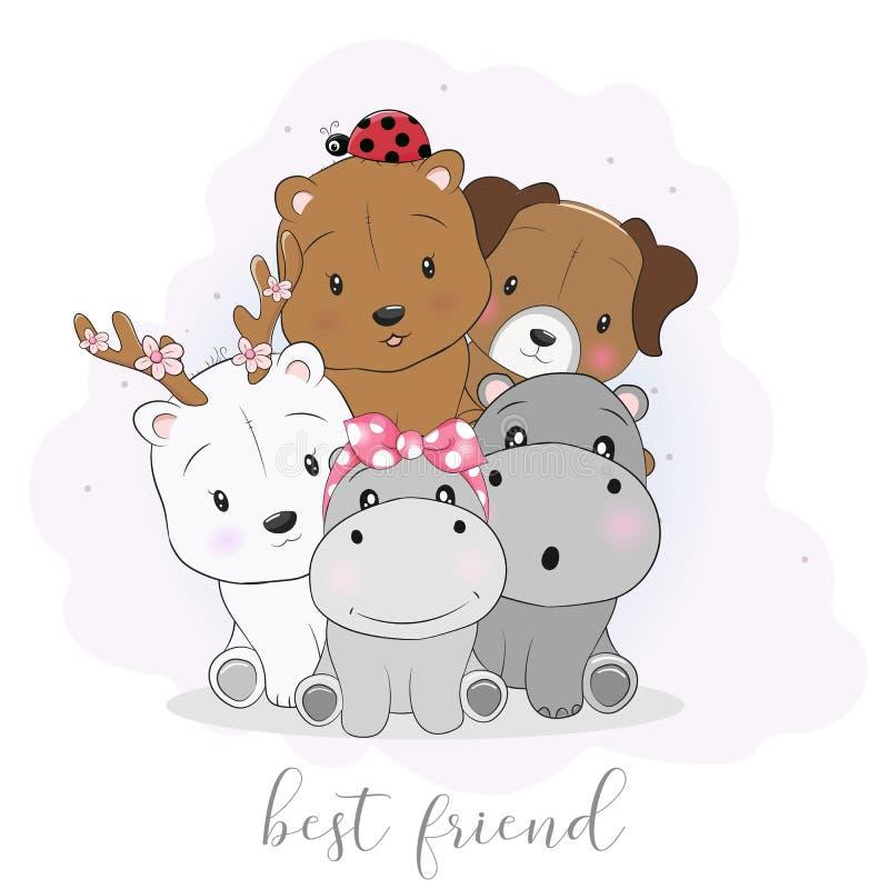 De leuke beste dieren van het vriendenbeeldverhaal stock illustratie