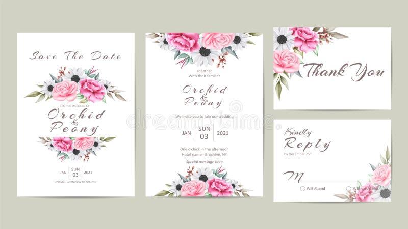 De leuke Bloemenreeks van de Huwelijksuitnodiging Waterverfbloemen en Wilde Bladeren royalty-vrije illustratie