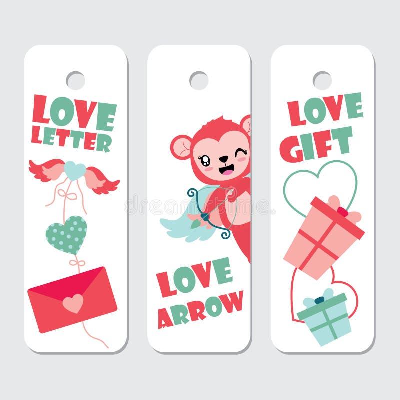 De leuke cupidoaap, vleugels van liefde, en het beeldverhaalillustratie van giftdozen voor Valentine-gift etiketteert ontwerp royalty-vrije illustratie