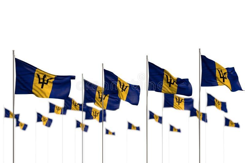 De leuke 3d illustratie van de vakantievlag - Barbados isoleerden vlaggen die in rij met bokeh worden geplaatst en plaatsen voor  royalty-vrije illustratie