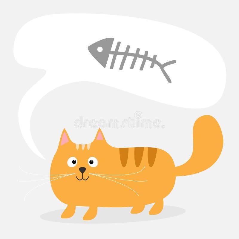 De leuke de beeldverhaal rode kat en bespreking denken bel met stock illustratie