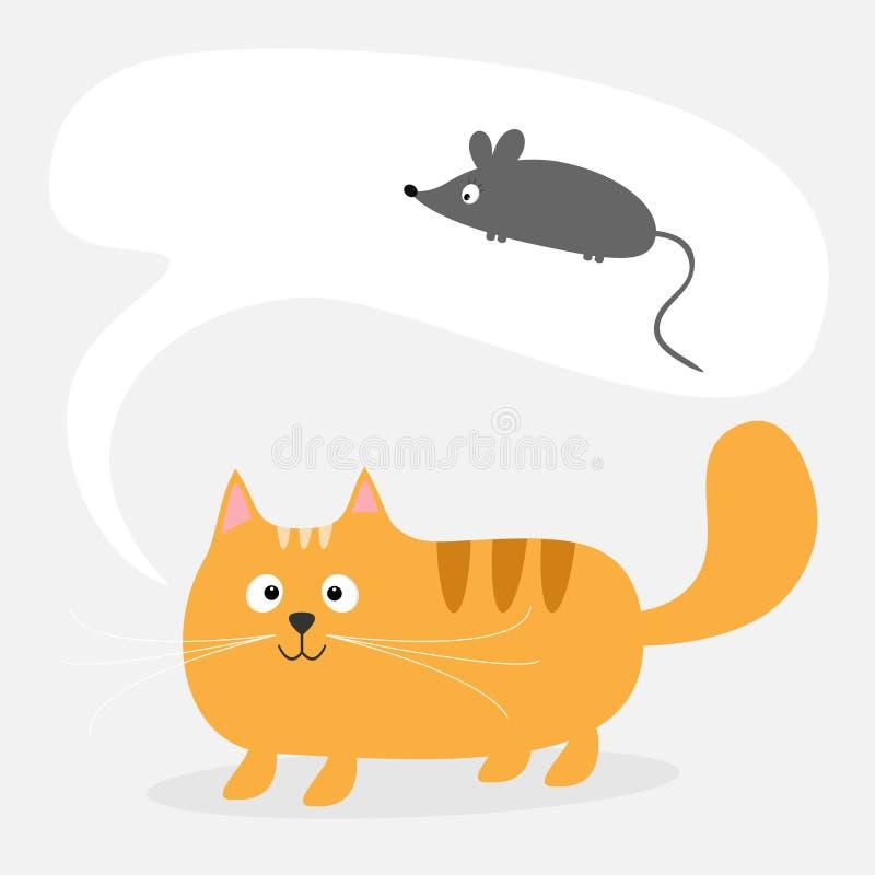 De leuke de beeldverhaal rode kat en bespreking denken bel met muis kaart Jonge geitjes Vlak ontwerp als achtergrond vector illustratie