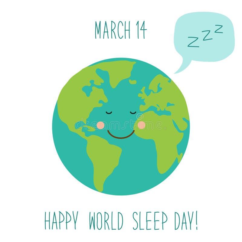 De leuke de Dagachtergrond van de Wereldslaap met grappig beeldverhaalkarakter van slaapaarde en de toespraak borrelen royalty-vrije illustratie