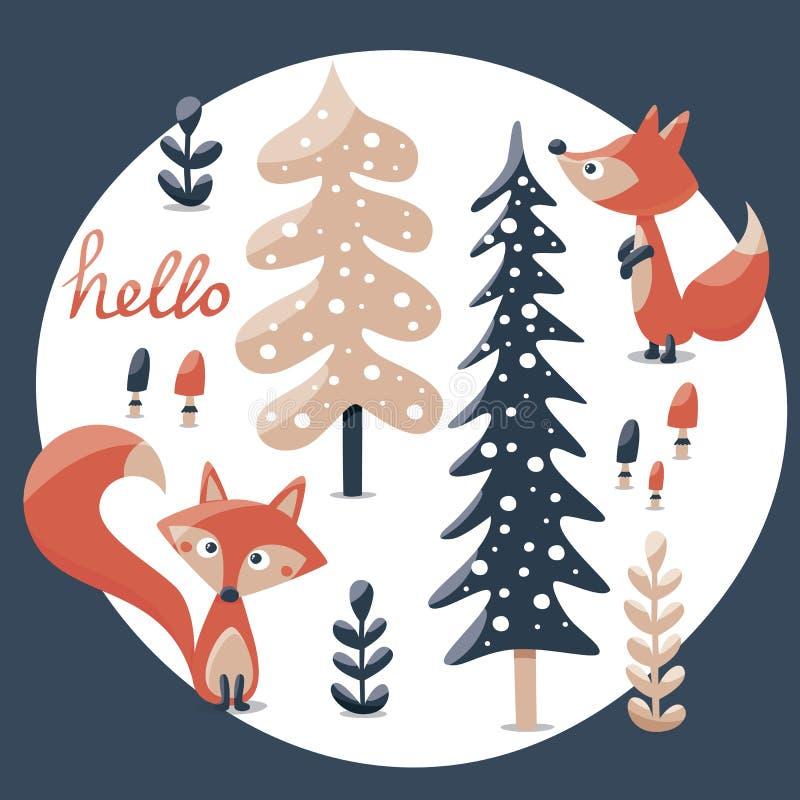 De leuke de winterreeks maakte met vos, konijn, paddestoel, struiken, installaties, sneeuw, bomen vector illustratie
