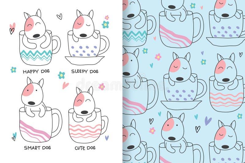 De leuke die honden zijn hand met editable patronen wordt getrokken stock illustratie