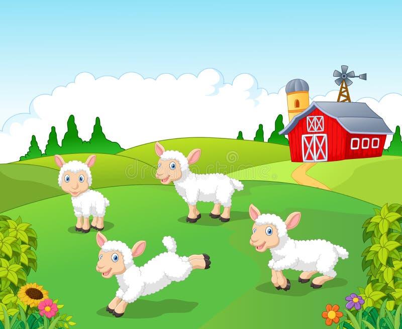 De leuke die inzameling van beeldverhaalschapen met landbouwbedrijfachtergrond wordt geplaatst stock illustratie