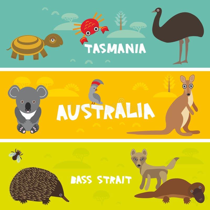 De leuke dieren plaatsen, Echidna-van de de struisvogelemoe van koalavogelbekdieren van de de Kaketoepapegaai van de de schildpad royalty-vrije illustratie