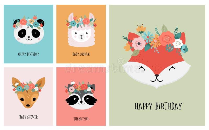 De leuke dierenhoofden met bloem bekronen, vectorillustraties voor kinderdagverblijfontwerp, affiche, de kaarten van de verjaarda stock illustratie