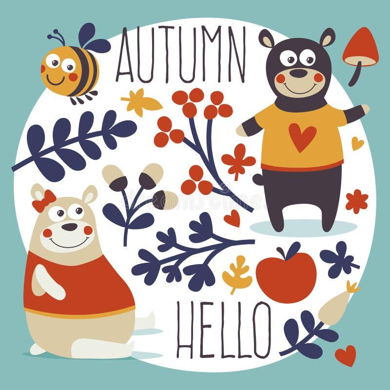 De leuke dierlijke vastgestelde herfst draagt, bij, bloem, plant, blad, bes, hart, vriend, bloemen, aard, eikel, paddestoel stock illustratie