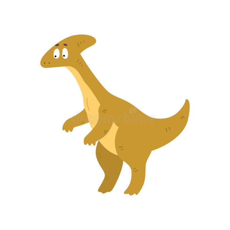 De leuke dinosaurus van beeldverhaalparasaurolophus, voorhistorische het karakter vectorillustratie van Dino op een witte achterg stock illustratie