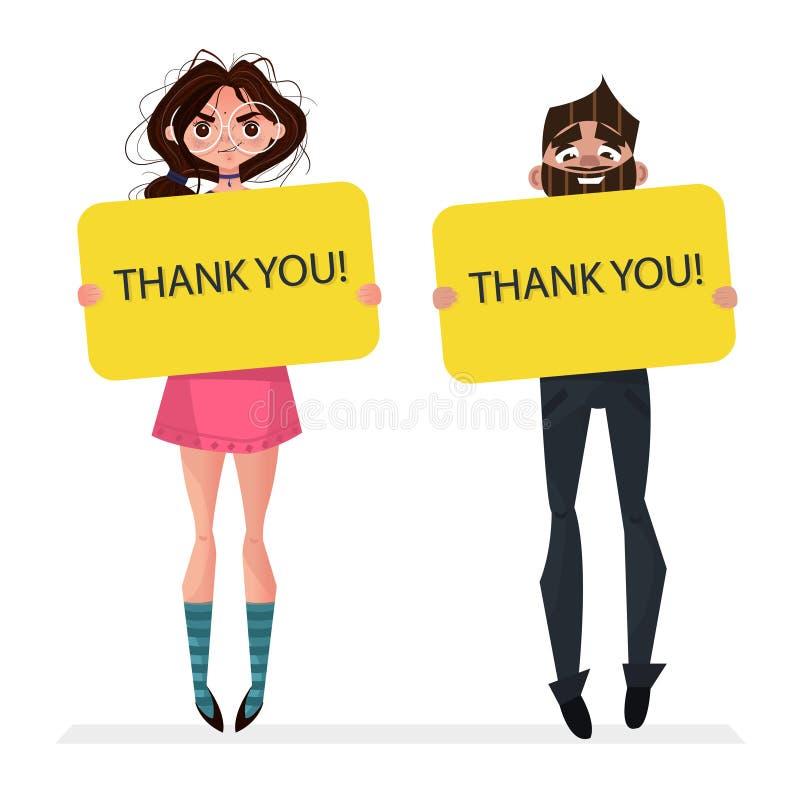 De leuke donkerbruine meisje en jongensbanner van de holdings lege raad dankt u in handen vector illustratie