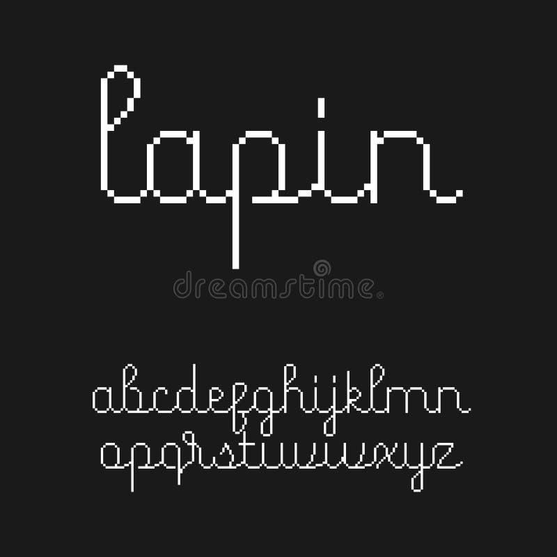 De leuke doopvont met 8 bits van het stijlmanuscript vector illustratie