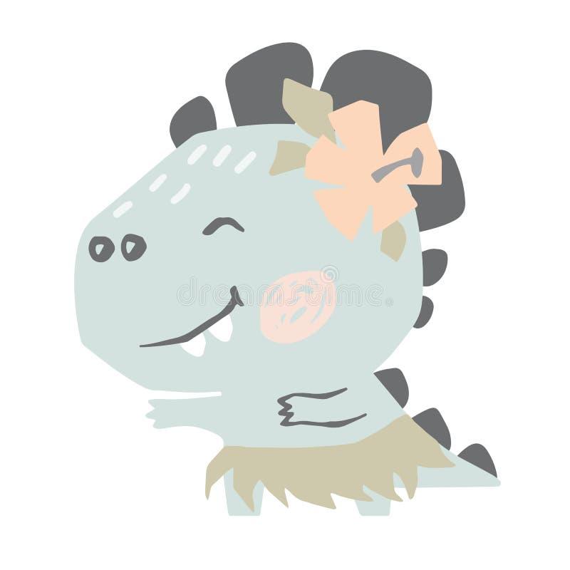 De leuke druk van de dinosaurusbaby Zoete het dansen van Dino Hawaiiaanse dans vector illustratie
