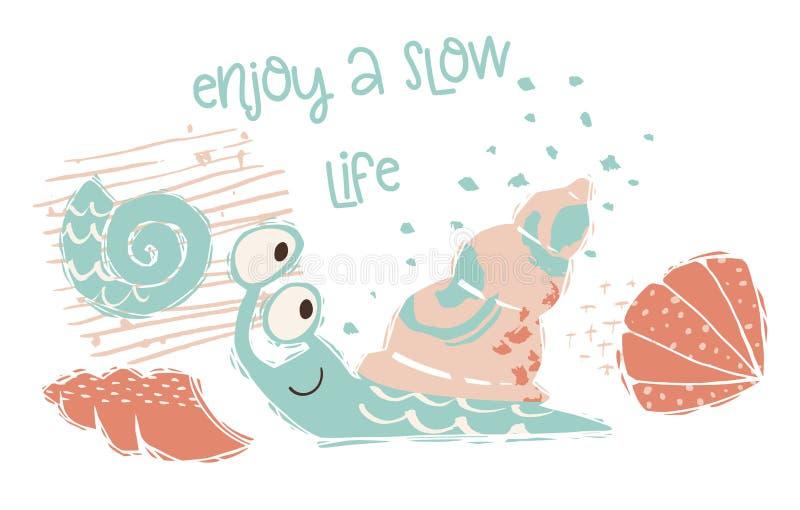 De leuke druk van de slakbaby Zoet overzees dier Geniet van het langzaam leven - tekstslogan vector illustratie