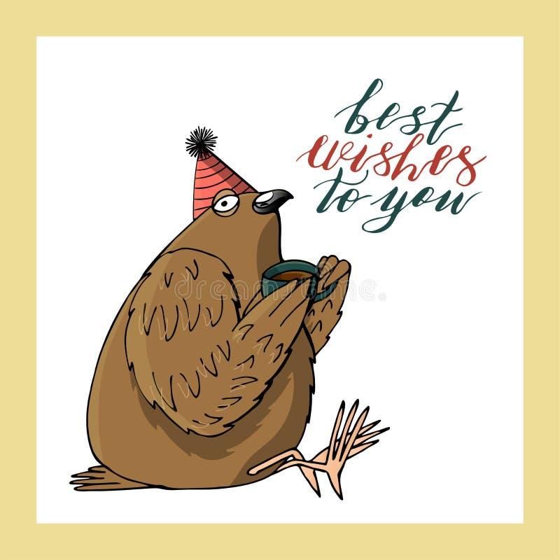 De leuke duif in de hoed van de kegelverjaardag houdt een kop hand het van letters voorzien beste wensen aan u De kaartmalplaatje vector illustratie