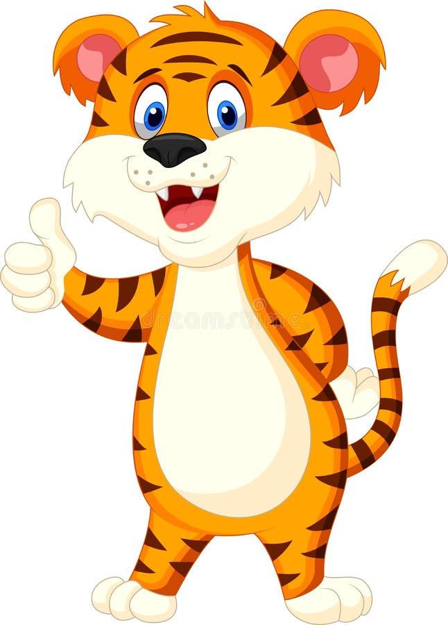 De leuke duim van het tijgerbeeldverhaal omhoog vector illustratie
