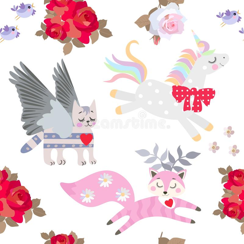 De leuke eenhoorn, de grappige gehoornde vos en de gevleugelde kat, boeketten van rood namen flowes en kleine die vogels op witte royalty-vrije illustratie