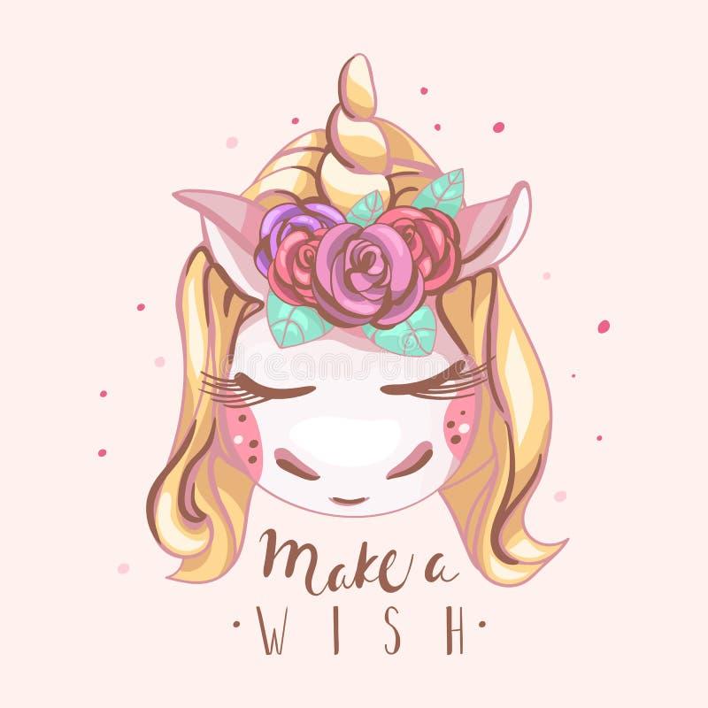 De leuke eenhoorn met blond haar en gouden hoorn met mooie rozen bloeit het gesloten ogen dromen, slapend met maak een Wensbrief vector illustratie