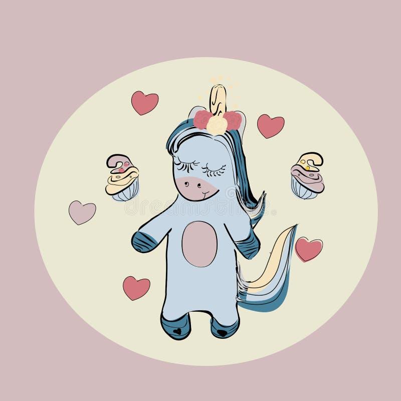 De leuke eenhoorn met cupcake en harten het kan voor kaart, sticker, flard, telefoongeval, affiche, t-shirt, mok enz. worden gebr vector illustratie