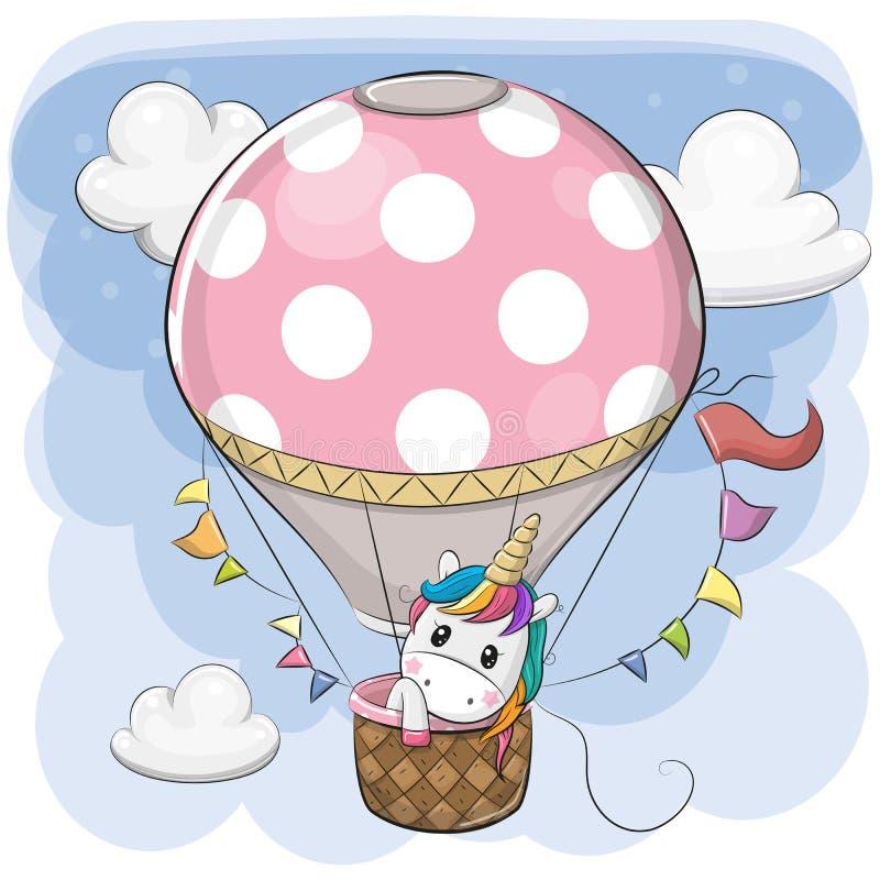 De leuke Eenhoorn vliegt op een hete luchtballon