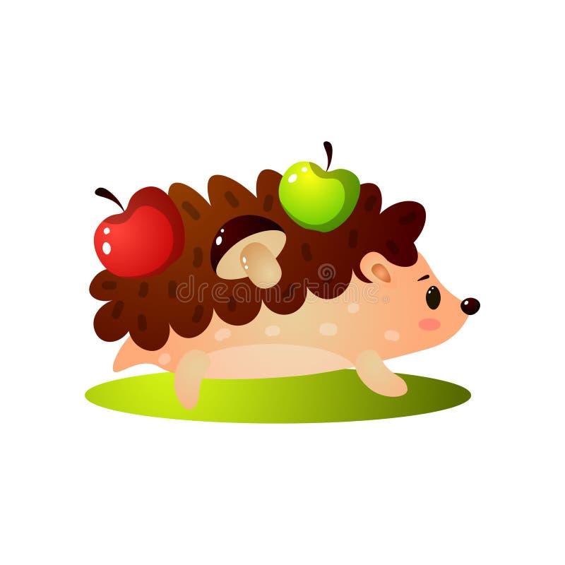 De leuke egel neemt groene, rode appel en paddestoel vector illustratie