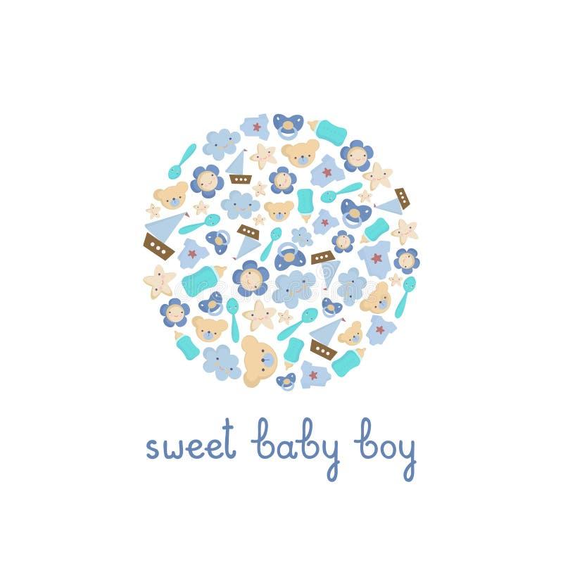 De leuke elementen van de Babyjongen in een cirkel Vectorgroetkaart met van letters voorziende Zoete babyjongen stock afbeeldingen