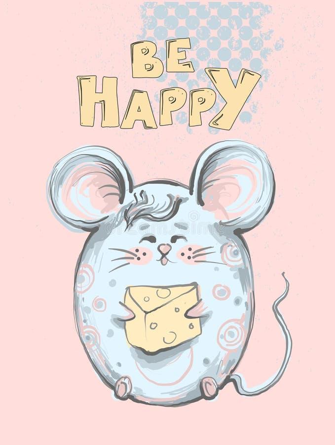 De leuke en grappige vette muis met kaas houden en afluisteraar die, woorden gelukkig is voor jonge geitjes apprel, kinderenmanie royalty-vrije illustratie