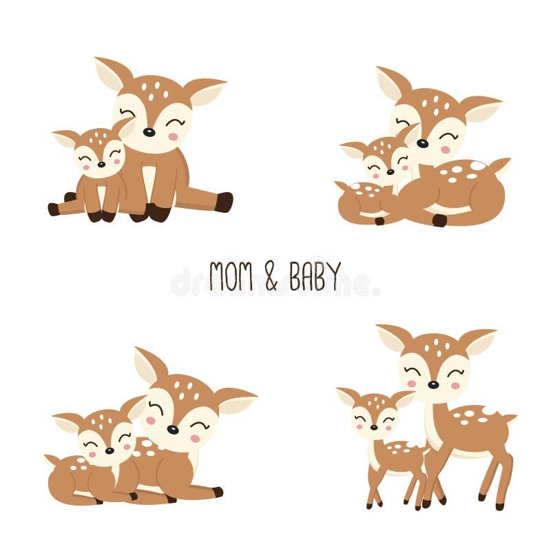 De leuke familie van Beeldverhaalherten Moeder en Baby vector illustratie