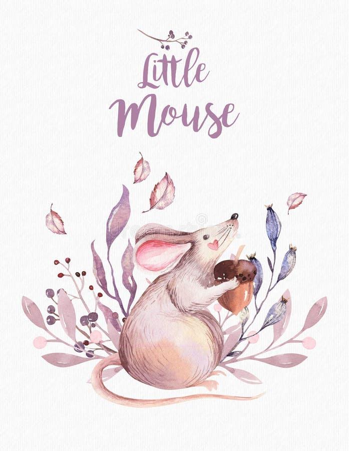 De leuke geïsoleerde illustratie van het baby dierlijke kinderdagverblijf muis voor kinderen Bos de tekeningswatercolourimage van royalty-vrije illustratie