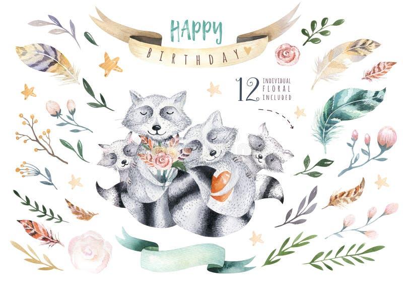 De leuke geïsoleerde illustratie van het baby raccon kinderdagverblijf dier voor kinderen Boheemse bosracconsfamilie van waterver vector illustratie