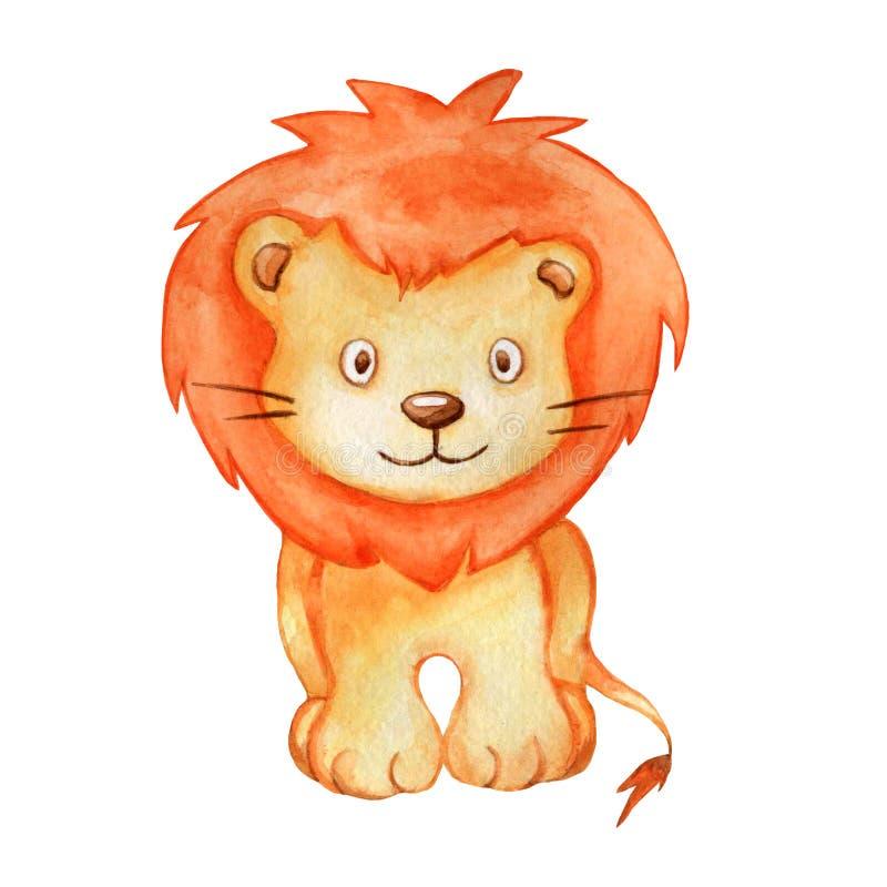 De leuke geïsoleerde leeuw van de waterverfillustratie stock afbeelding