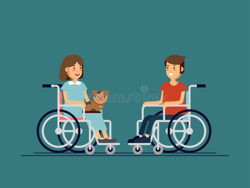 De leuke gehandicapte jongen en meisjesjong geitjezitting in een rolstoel en houdt het puppy op één de knieën van ` s Gehandicapt vector illustratie