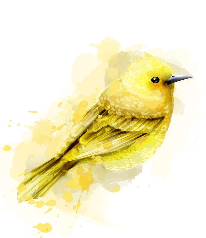 De leuke gele die Vector van de vogelwaterverf op wit wordt geïsoleerd Uitstekende ontwerpen vector illustratie