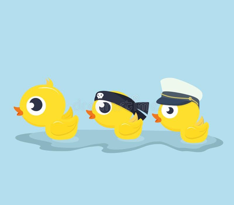De leuke gele Eenden zwemmen stock illustratie