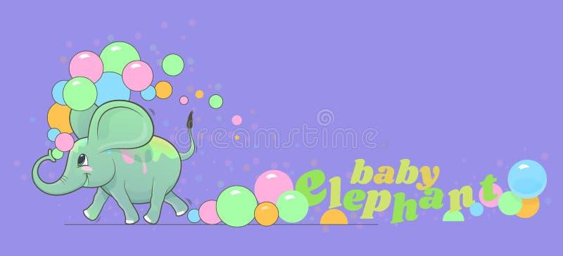 De leuke gelukkige babyolifant stelt en giet gekleurd stof op zich in werking stock illustratie