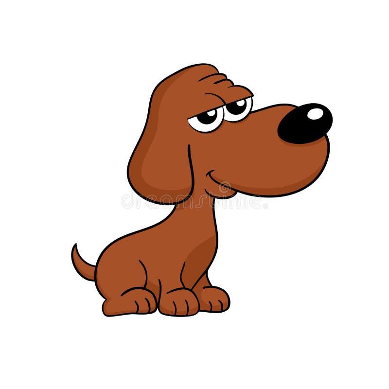 De leuke gelukkige bruine geïsoleerde illustratie van het hondbeeldverhaal - royalty-vrije illustratie