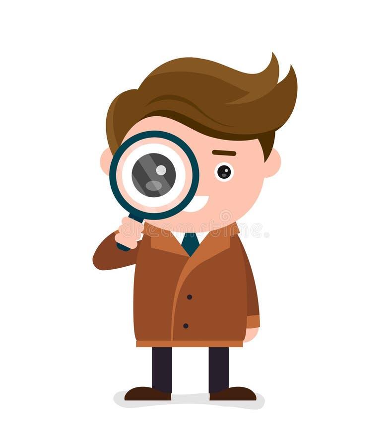 De leuke gelukkige glimlachende detective bekijkt meer magnifier vector illustratie