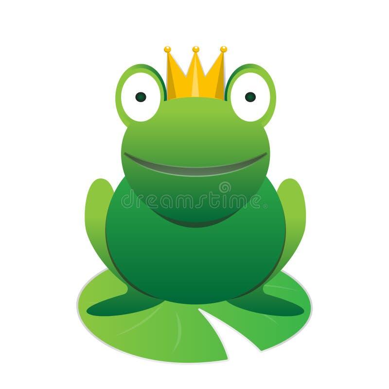 De leuke gelukkige glimlachende groene prins van de beeldverhaalkikker met kroon vector dierlijk element stock illustratie