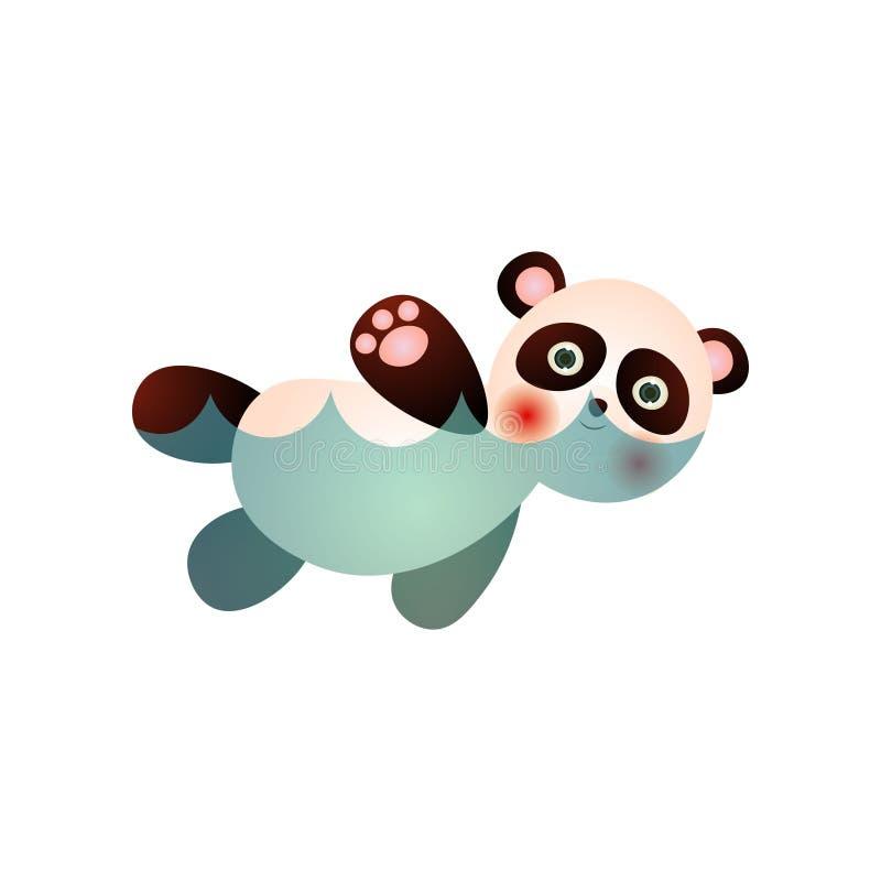De leuke gelukkige panda draagt zwemmend in waterpool royalty-vrije illustratie