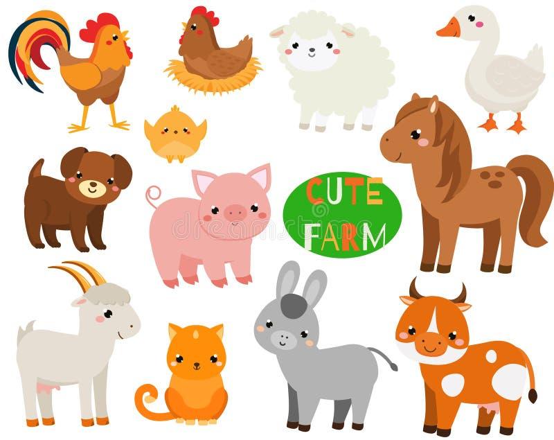 De leuke geplaatste dieren van het beeldverhaallandbouwbedrijf Varken, schapen, paard en andere binnenlandse schepselen voor jong vector illustratie