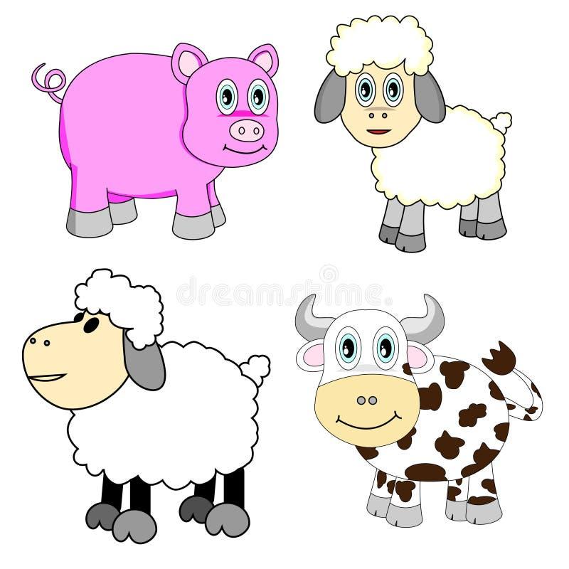 De leuke Geplaatste Dieren van het Landbouwbedrijf stock illustratie