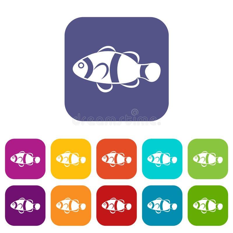 De leuke geplaatste pictogrammen van clownvissen stock illustratie