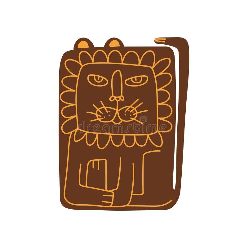 De leuke Gestileerde Leeuw, Front View, Hand Getrokken Ontwerpelement kan voor T-shirtdruk, Affiche, Kaart, Etiket, Kenteken word vector illustratie
