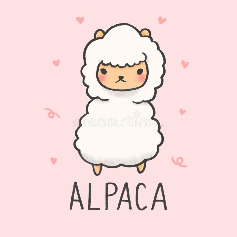 De leuke getrokken stijl van het Alpacabeeldverhaal hand stock illustratie