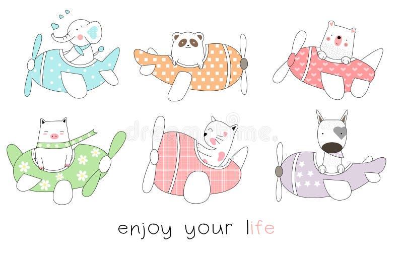 De leuke getrokken stijl van het baby dierlijke beeldverhaal hand Vctor royalty-vrije illustratie