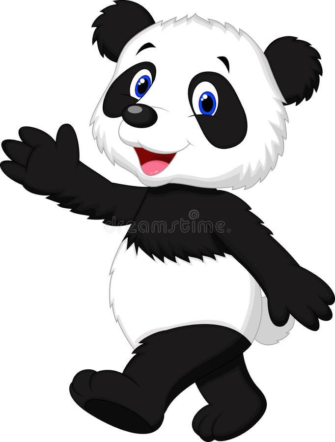 De leuke golvende hand van het pandabeeldverhaal royalty-vrije illustratie
