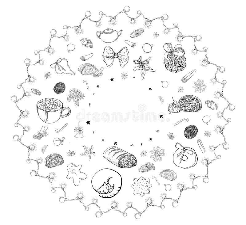 De leuke grafische reeks van cirkel vectorkerstmis traditioneel decor en geïsoleerde elementen Kruiden, decoratie, koekjes, gifte stock illustratie